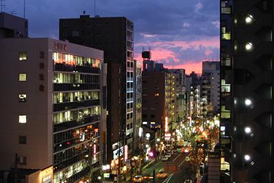 高田馬場駅方面の夕景